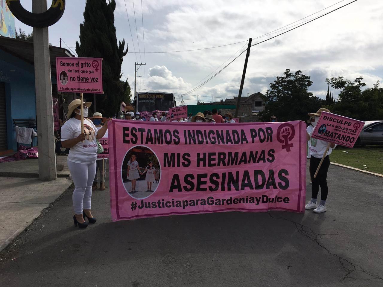 Protestan en Acajete por feminicidios de Gardenia y Dulce