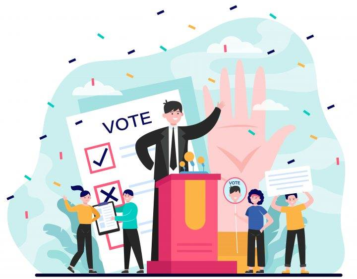 Election and political campaign. Politician speaker, candidate, voting citizens, ballot paper. Flat vector illustration for democracy, society, referendum concepts