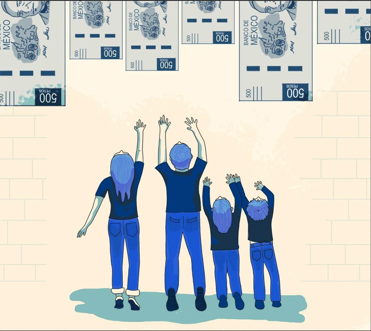 Un total de 4 millones 634 mil 100 personas en Puebla no tienen ingresos para comprar una canasta básica de alimentos, según el Coneval. Ilustración: Valeria Bautista
