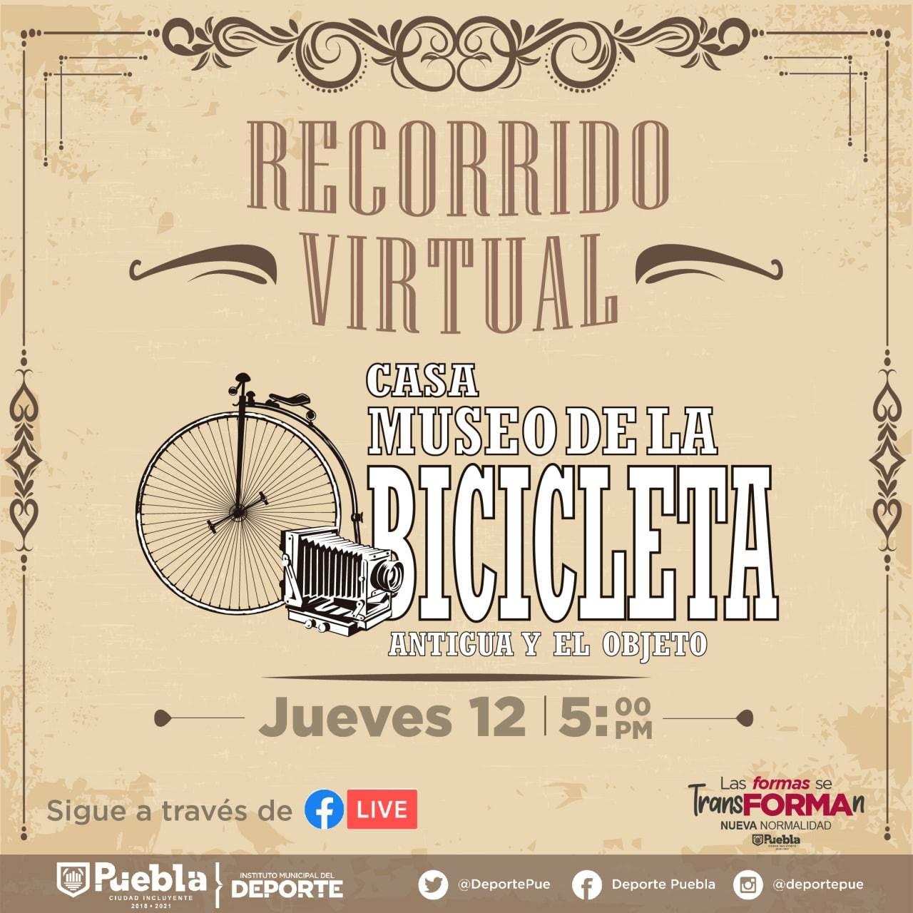 Imagen que invita a asistir al Recorrido virtual por el museo de la bicicleta de Puebla.