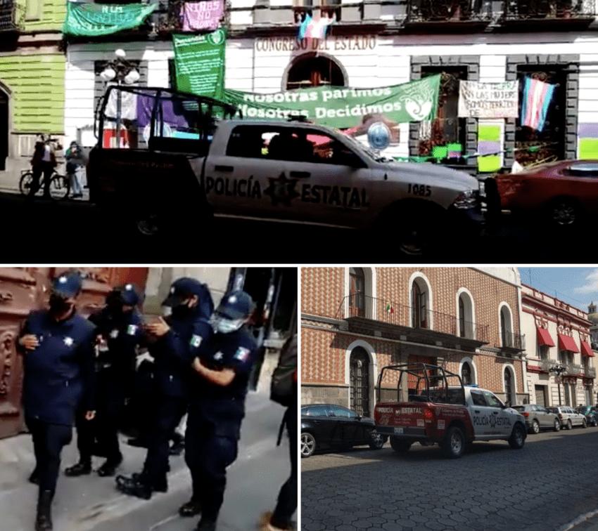 Acechan policías estatales toma feminista del Congreso de Puebla