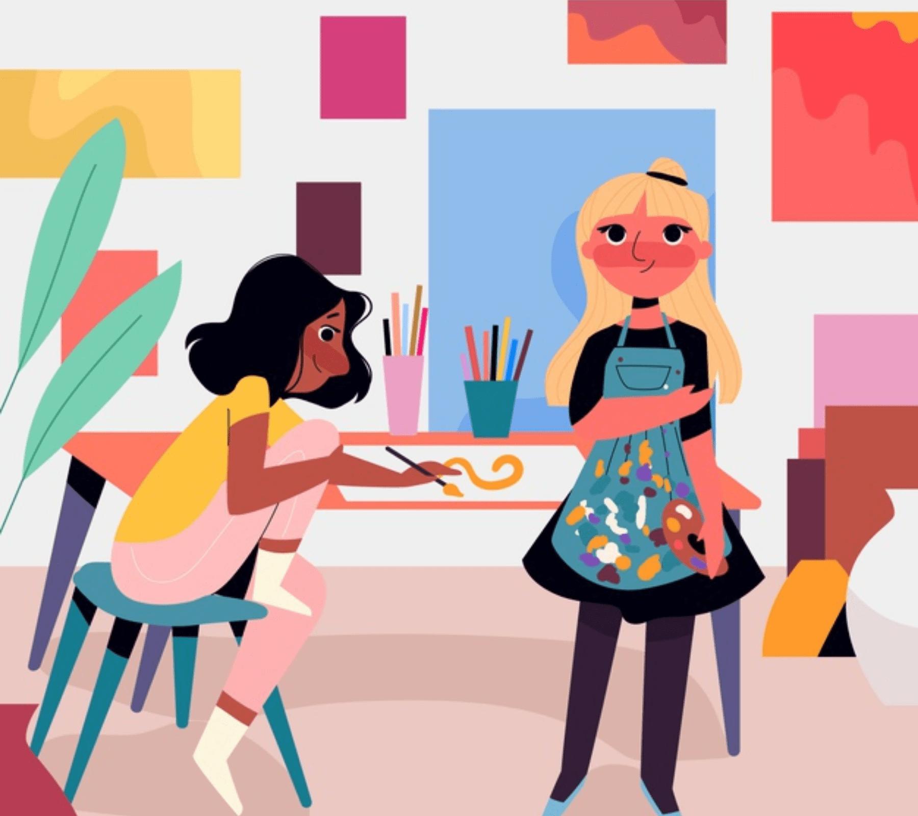 Mujeres artistas pintando