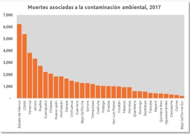 Puebla es el quinto estado del país con más muertes asociadas a la contaminación ambiental. Fuente: IHME (Institute For Health Metrics and Evaluation)