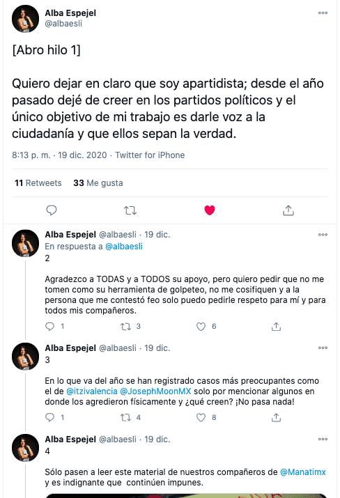 Tuit en el que la reportera cuenta parte de la agresión que sufrió por parte de Barbosa; sus ataques a la prensa son recurrentes.
