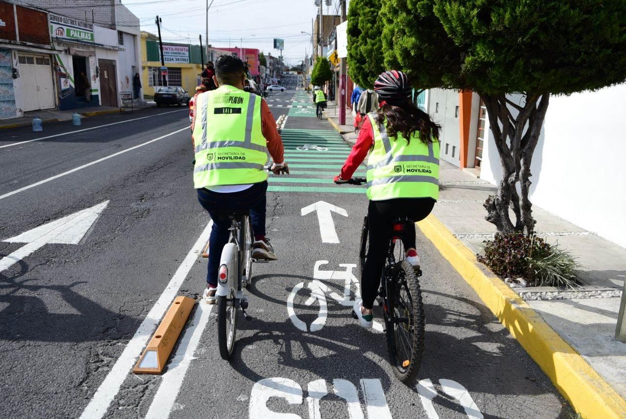 Fotografía de la ciclovía inaugurada en Puebla