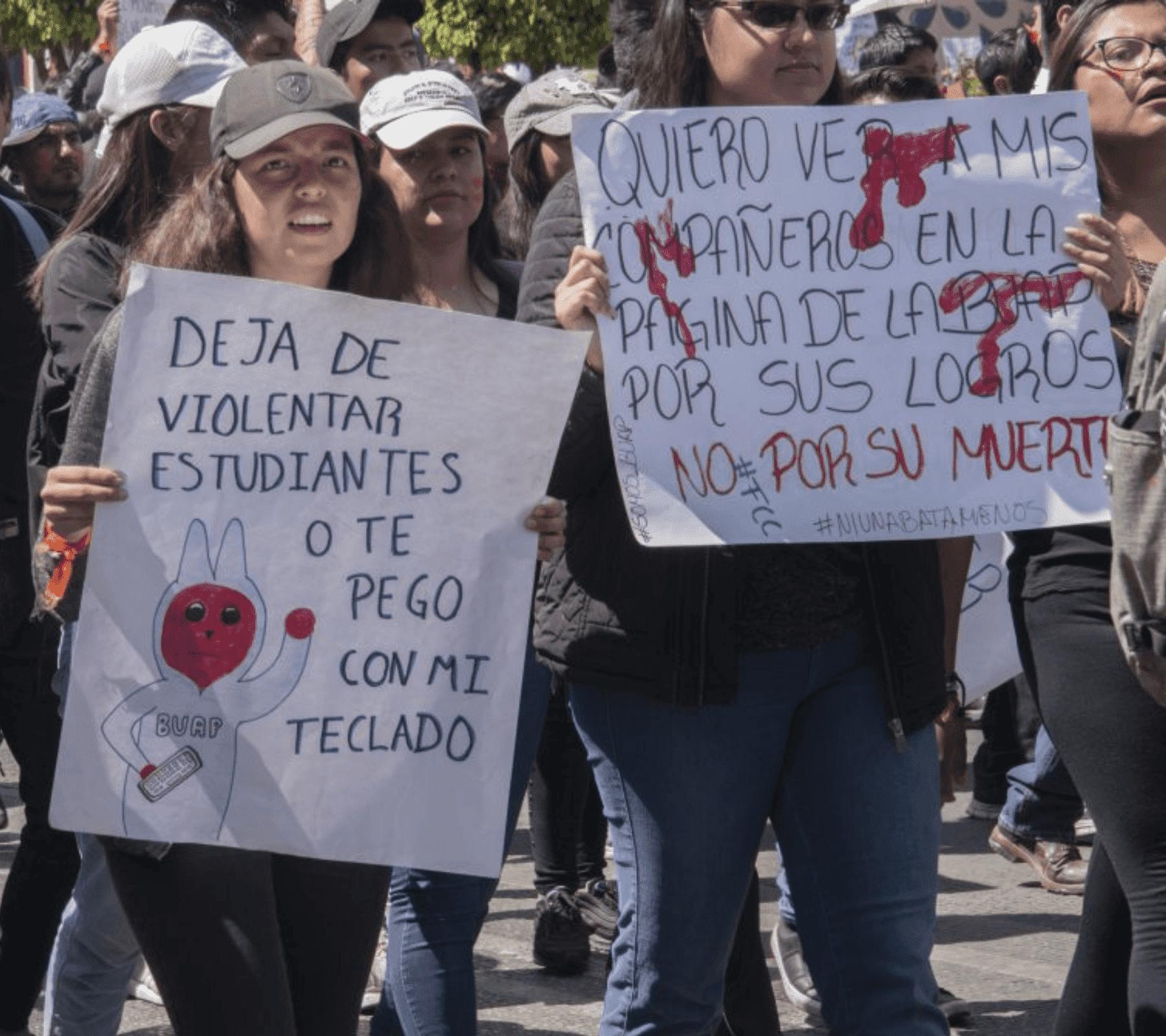 Fotografía tomada en la manifestación de estudiantes en marzo del 2020 Puebla