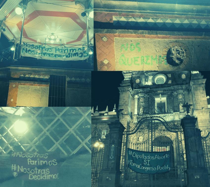 Colocan mantas a favor del aborto en Puebla