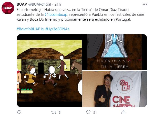 Tuit en el que se informa sobre el cortometraje de estudiante de la BUAP.