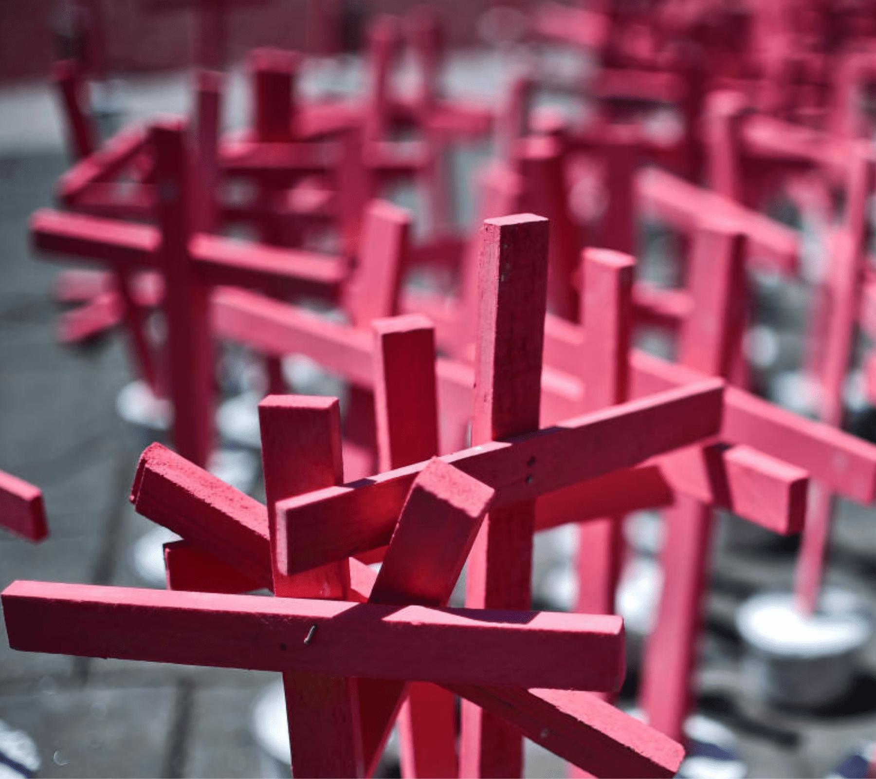 Cruces rosas para las mujeres víctimas de feminicidio
