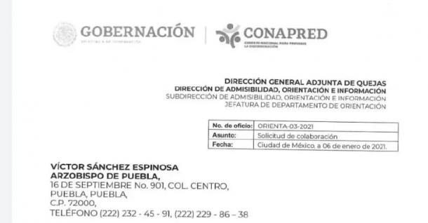 Discriminación del arzobispo de Puebla. Captura de pantalla del documento.
