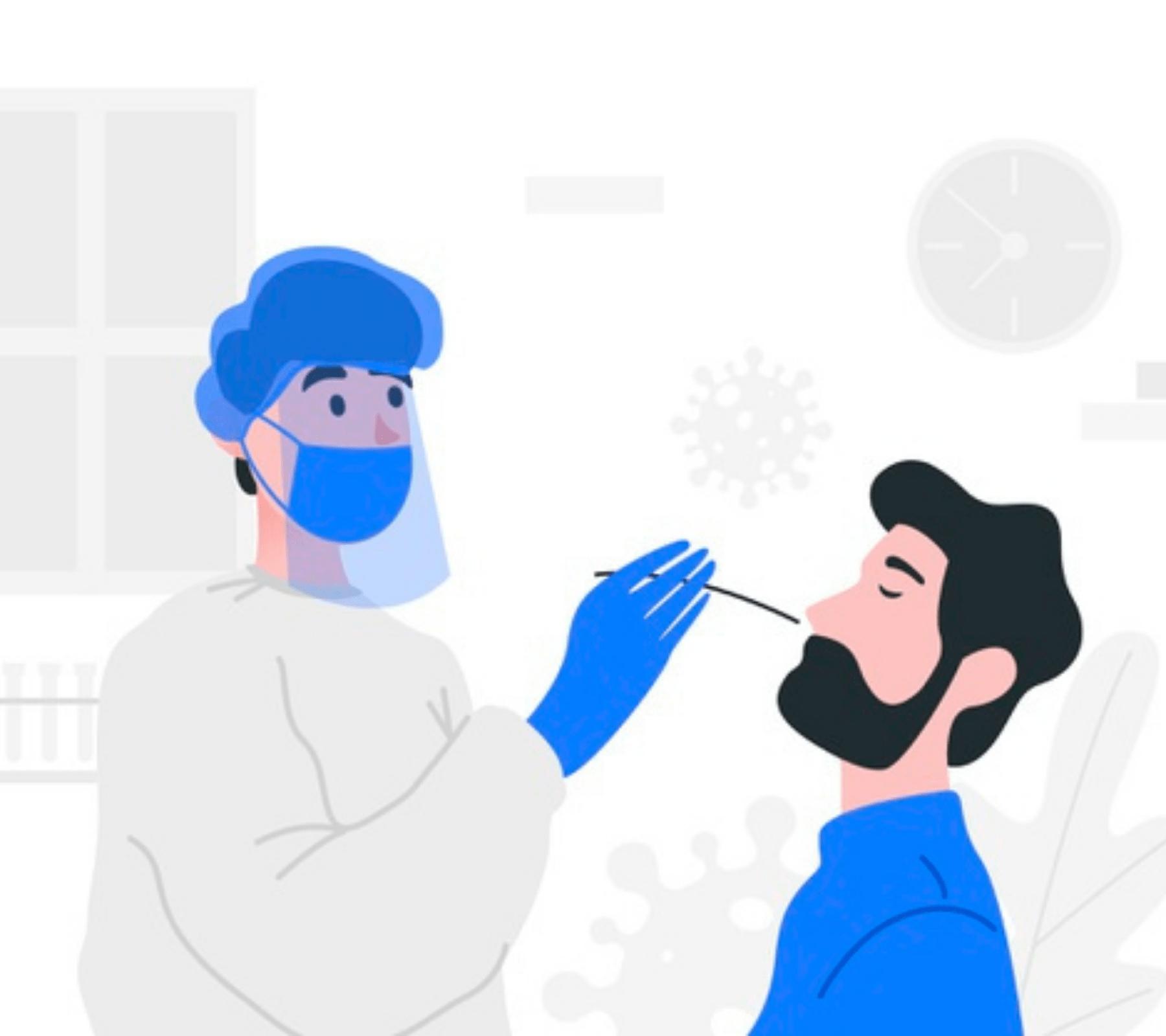 Doctora realizando la prueba Covid a un hombre. La prueba PCR es la más eficaz y sus resultados se entregan hasta tres días después de la muestra.