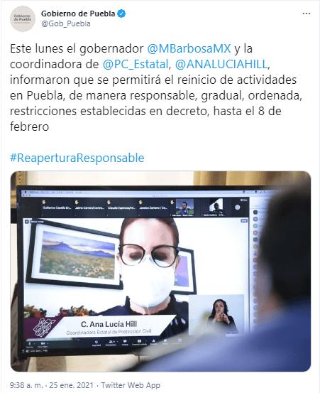 El gobierno del estado dio a conocer  las nuevas medidas para el reinicio de actividades comerciales en Puebla que estarán vigentes del  26 de enero al 8 de febrero