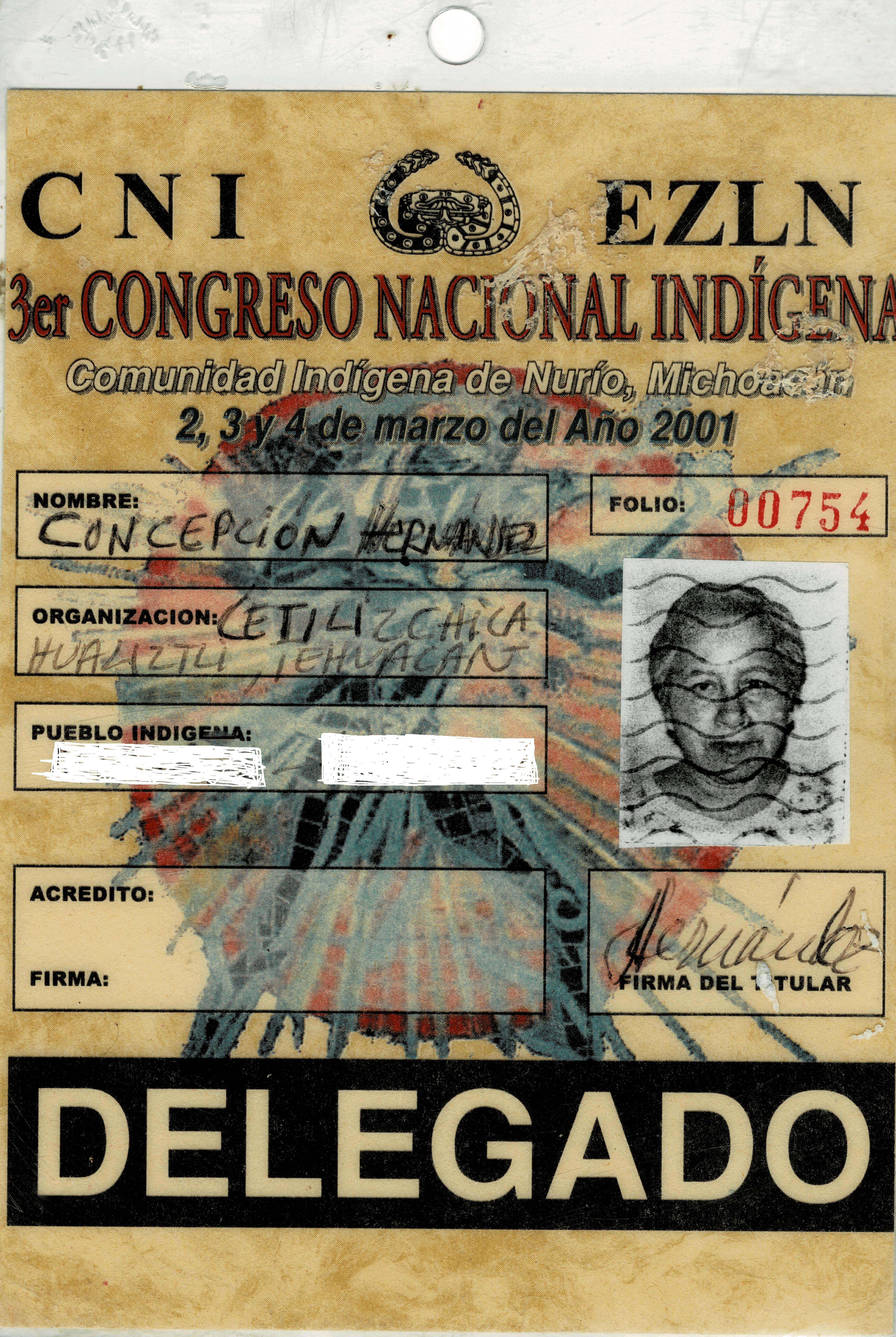 Concepción Hernández fue asesora del EZLN durante la firma de los acuerdos de San Andrés con el gobierno federal. La fotografía pertenece al archivo personal de Hernández.