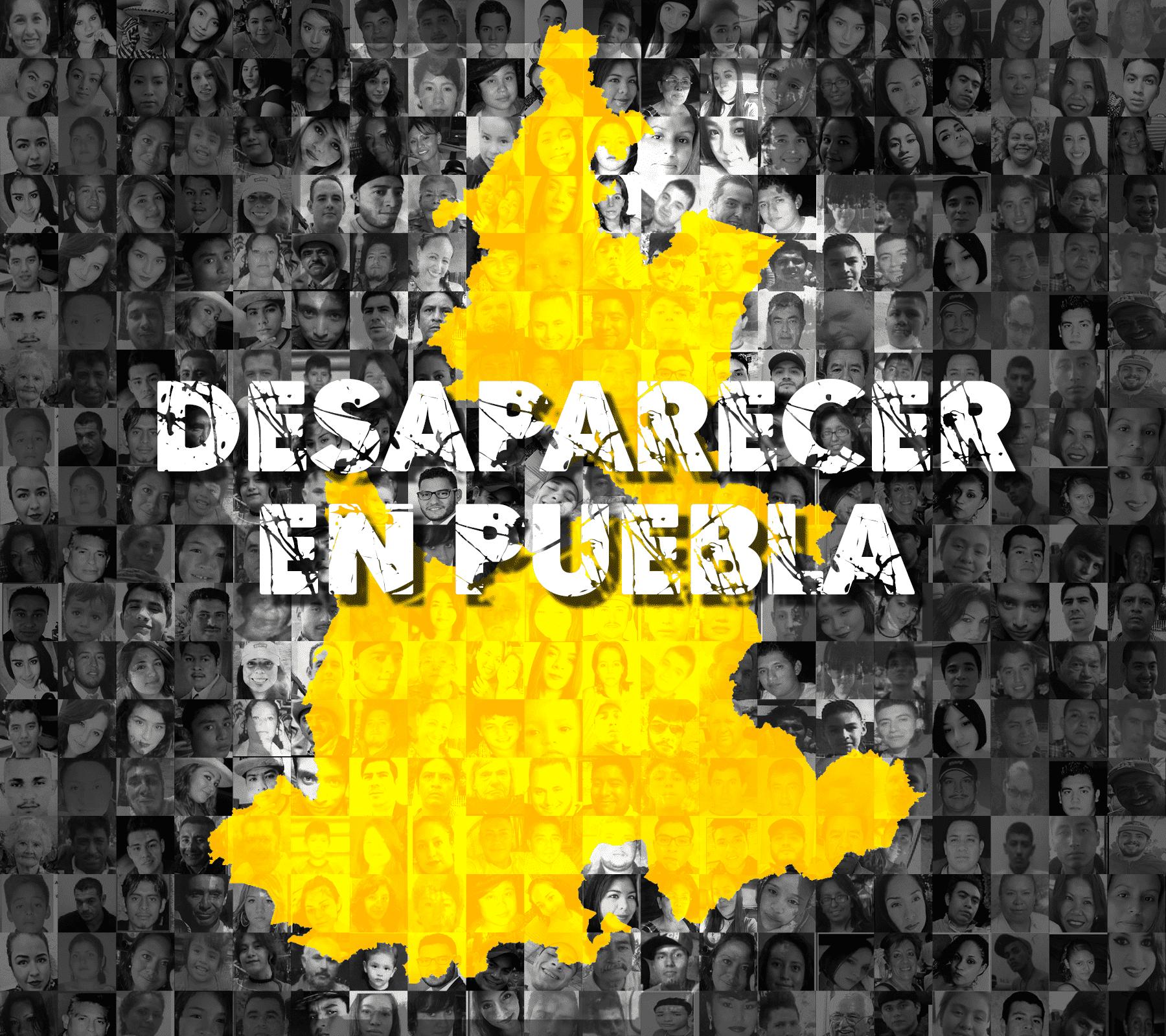 """Imagen en la que se observa el estado de Puebla con las fotografías de personas desaparecidas: Se lee la leyenda """"Desaparecer en Puebla""""."""