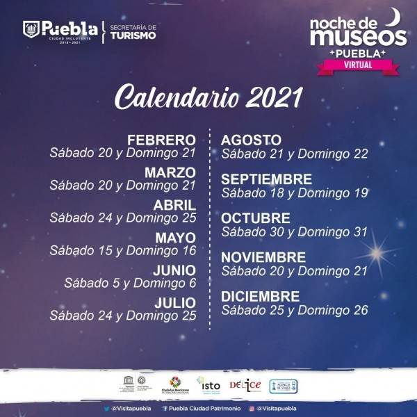 La Noche de Museos en Puebla contará con la participación de 25 recintos de la ciudad y dos del interior del estado