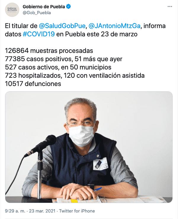 Tuit del gobierno de Puebla sobre los contagios de covid en el estado