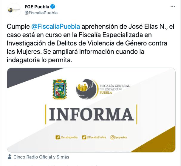 Mediante un comunicado, la Fiscalía informó sobre la detención de José Elías N. ex aspirante a diputado local en Puebla acusado de cometer abuso contra su hija