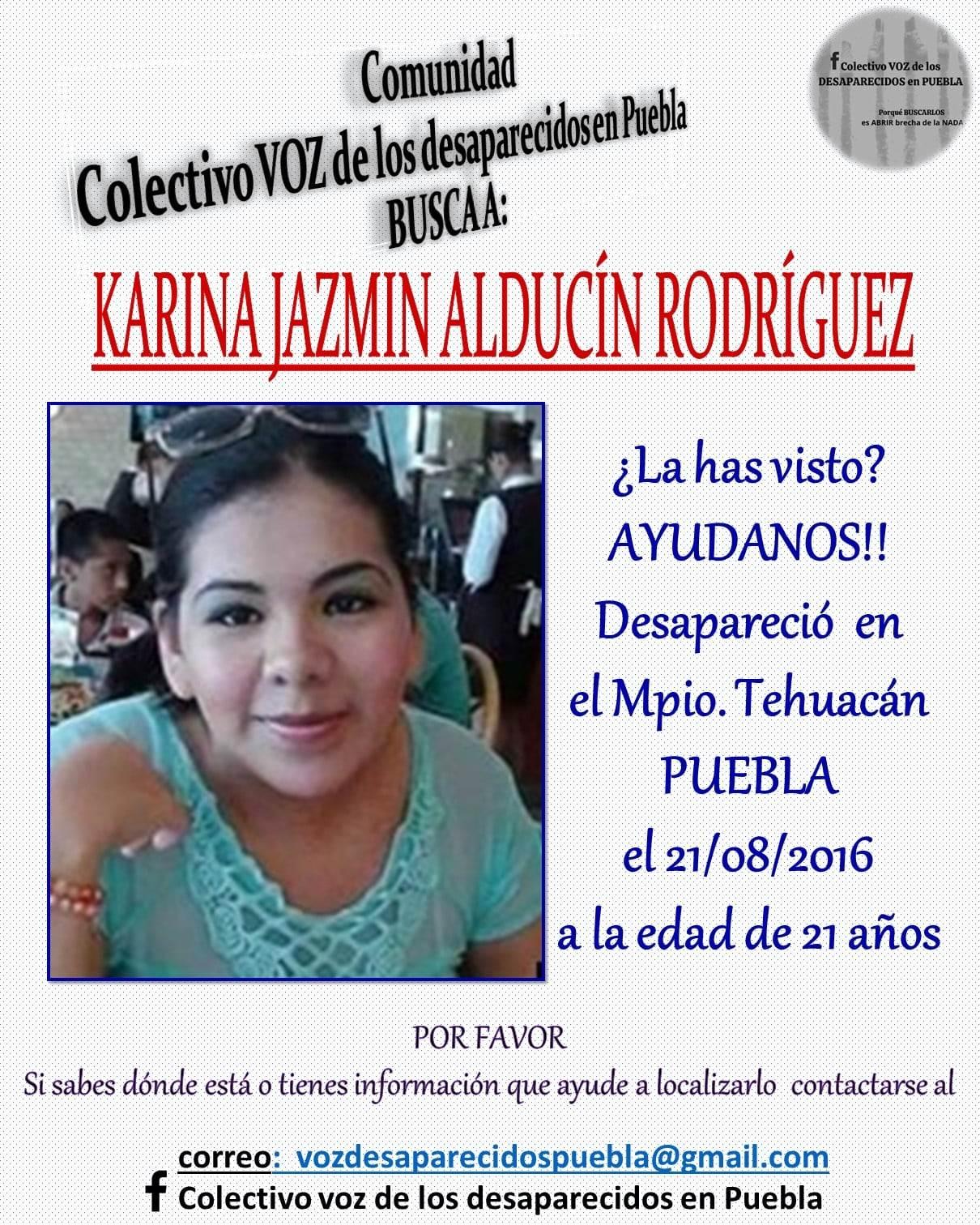 Entre los casos de mujeres desaparecidas en Tehuacán se encuentra el de Karina Jazmin.