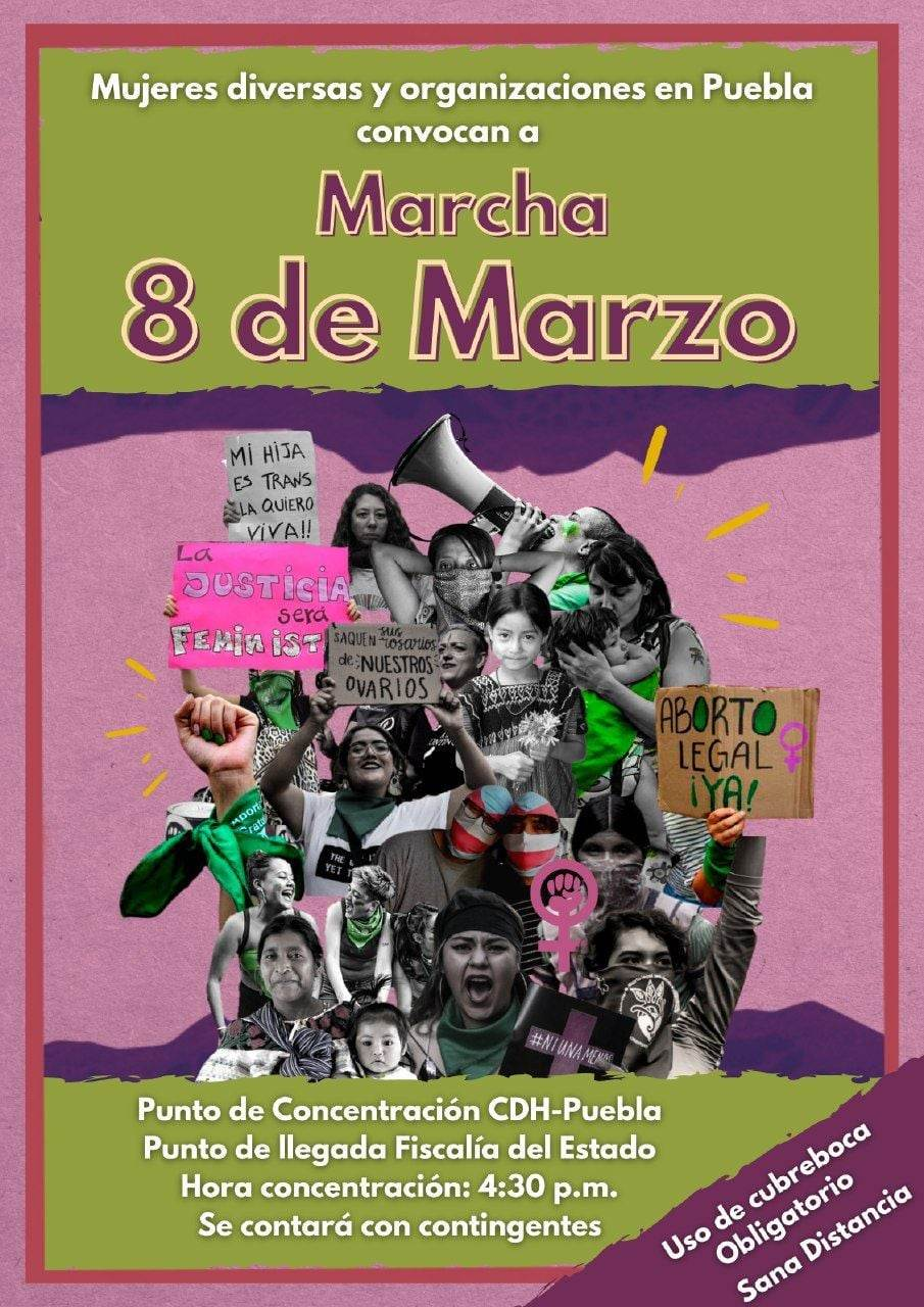 Invitación para la Marcha del #8M en Puebla capital