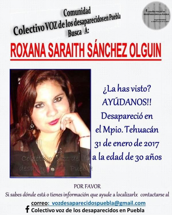 Entre las mujeres desaparecidas en Tehuacán se encuentra el nombre de Roxana Saraith Sánchez.