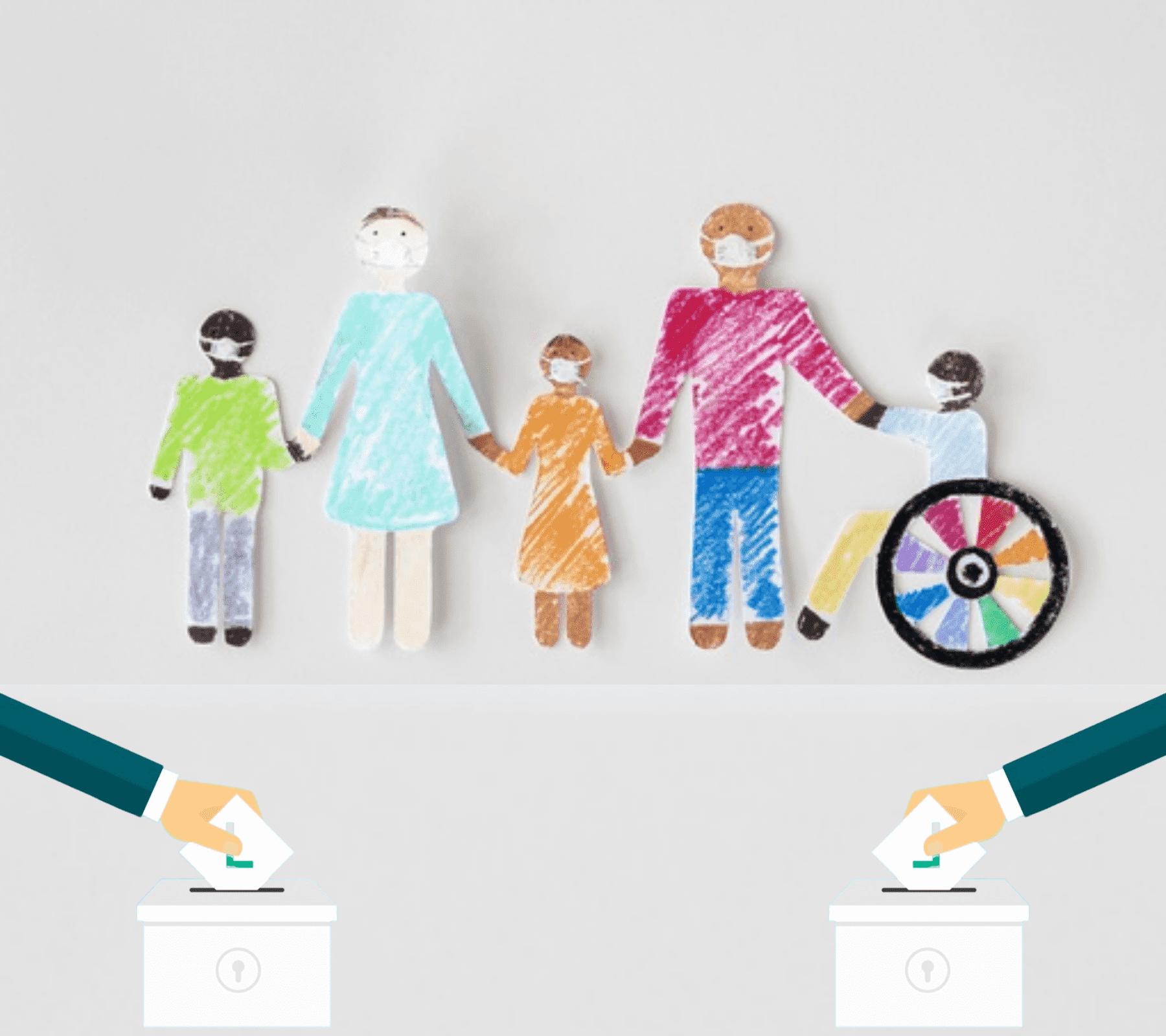 Imagen ilustrativa: Se observan a personas con discapacidad dibujadas