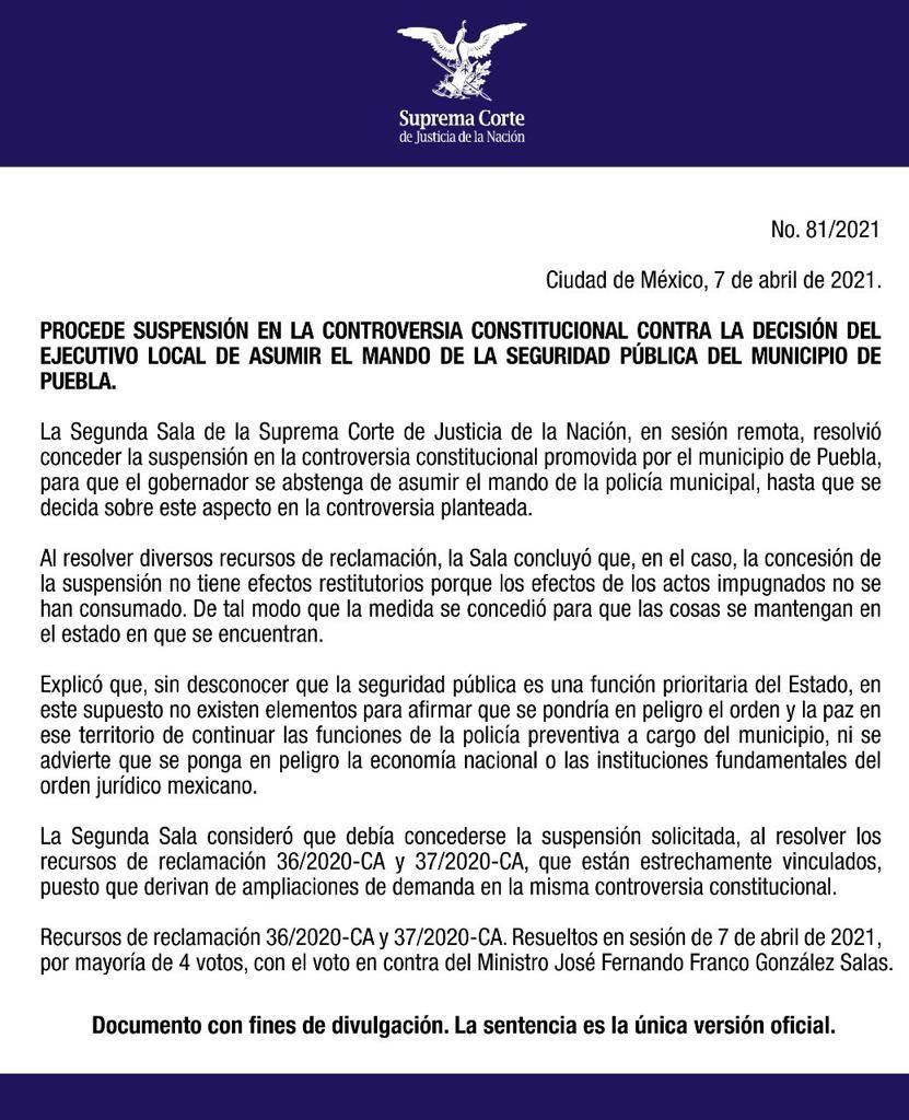 Corte seguridad pública Puebla