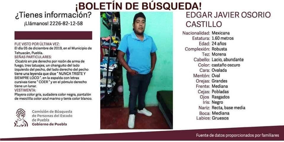Edgar Javier Osorio Castillo desaparecido Tehuacán Puebla