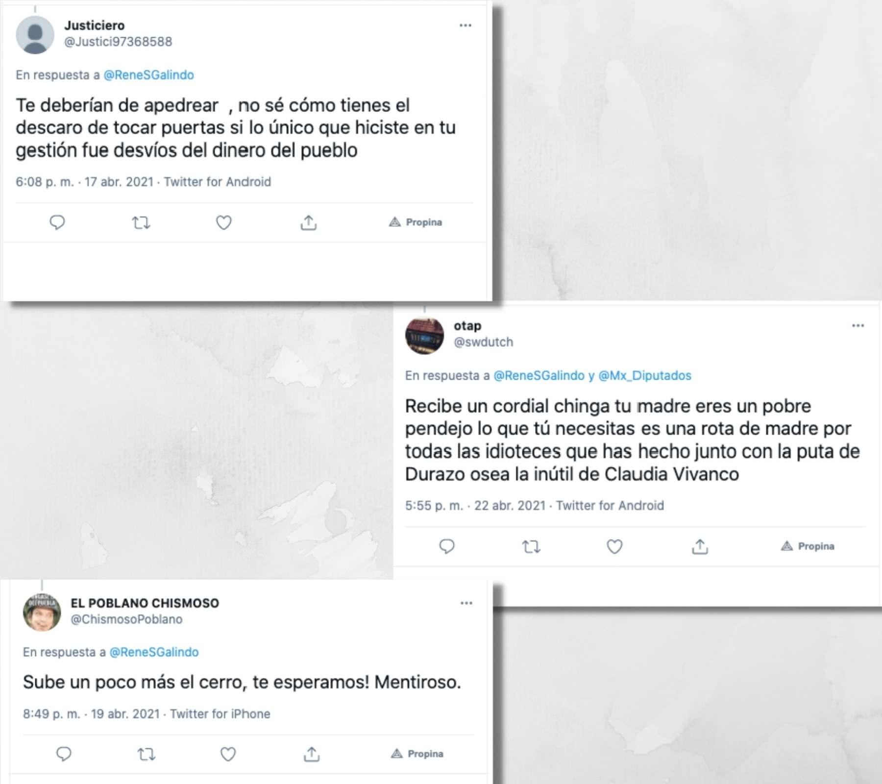 Tuits con amenazas al candidato René Sánchez Galindo