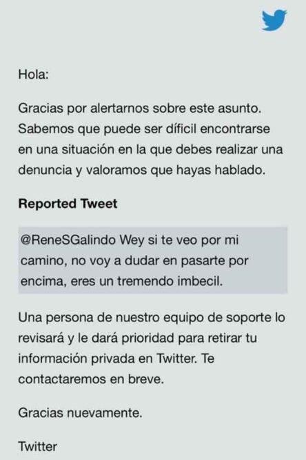 Denuncia por ataques en twitter de René Sánchez Galindo