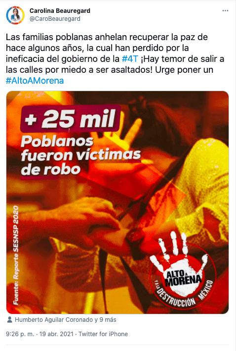 Imagen con datos sobre robo que compartió Carolina Beauregard en su cuenta de Twitter