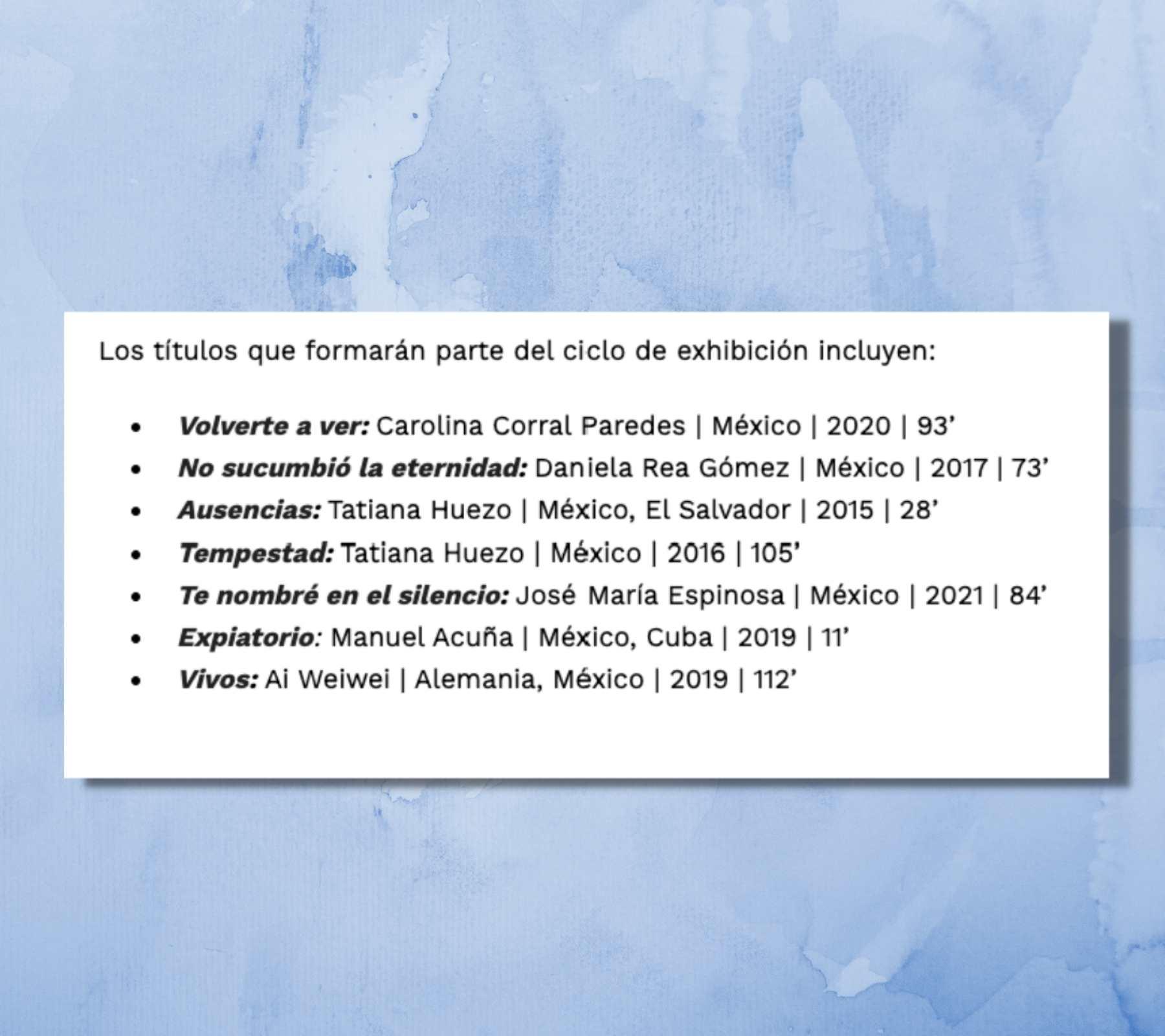 Cartelera del ciclo de cine que organiza Ambulante sobre las desapariciones forzadas en México.