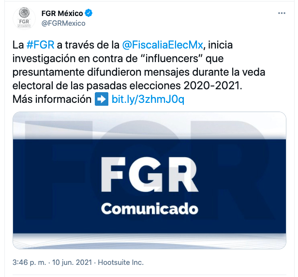 TUIT DE LA FGR sobre influencers del PVEM