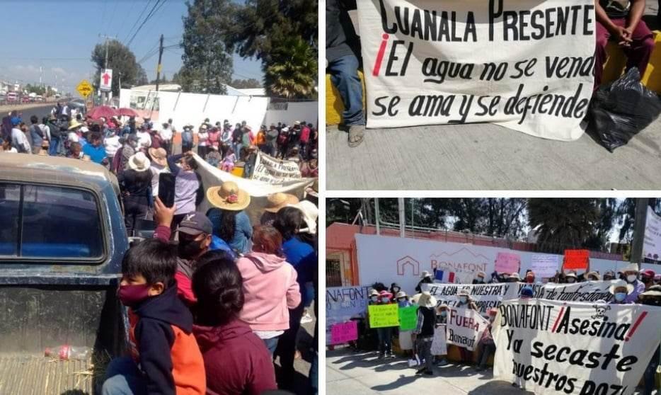 Fotografías de habitantes de Santa María Zacatepec en lucha contra bonafont.