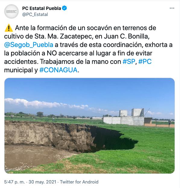 Tuit de PC sobre el socavón de Juan C. Bonilla