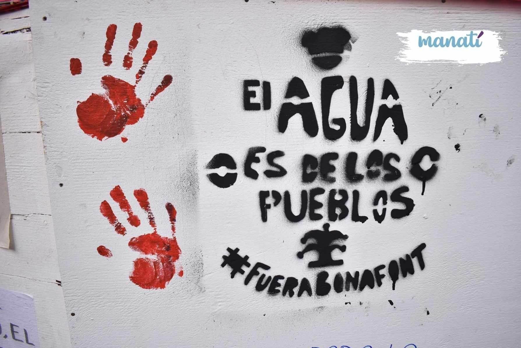 Fotografía sobre el conflico de Bonafont en Puebla