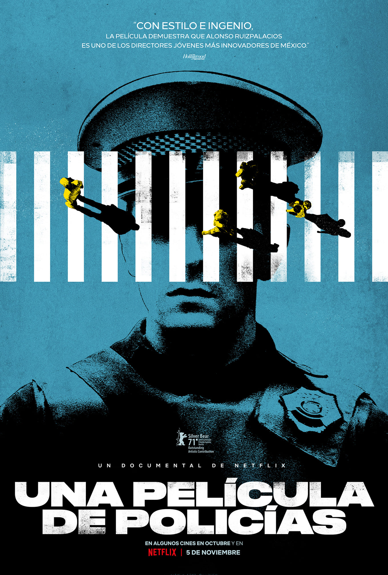 Cartel del documental Una película de policías, que se exhibirá en la gira de AMbulante 2021.