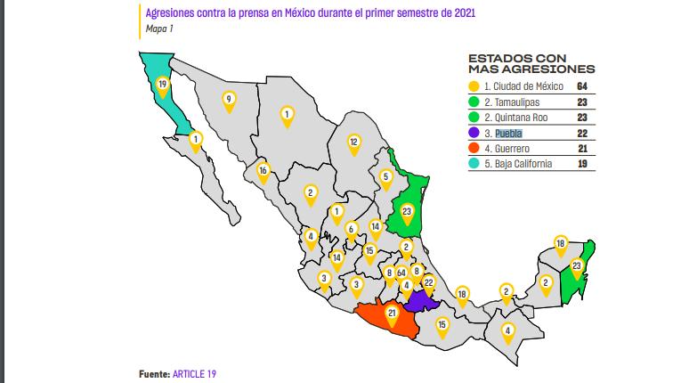 Puebla es el tercer lugar con más agresiones a la prensa en México